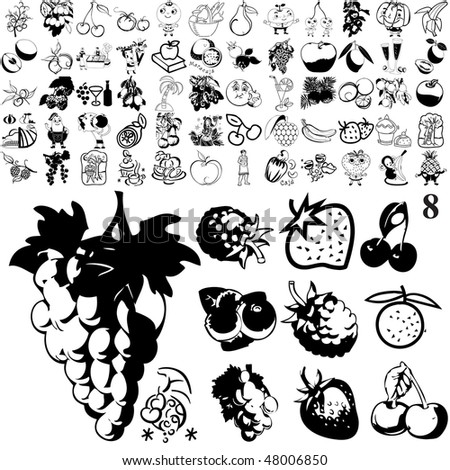Fruit set of black sketch. Part 101-8. Isolated groups and layers.