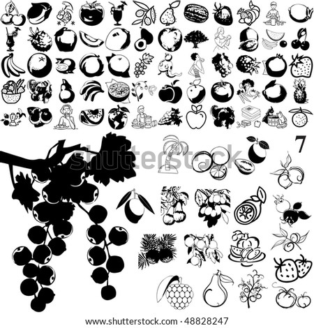 Fruit set of black sketch. Part 102-7. Isolated groups and layers.
