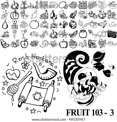 Fruit set of black sketch. Part 103-3. Isolated groups and layers.
