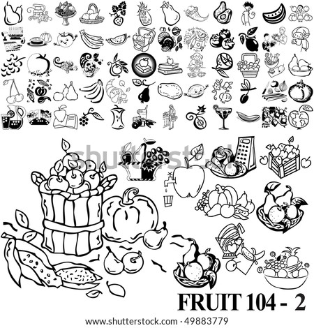 Fruit set of black sketch. Part 104-2. Isolated groups and layers.