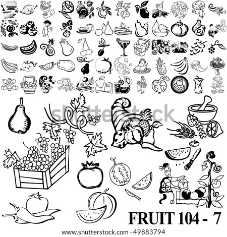 Fruit set of black sketch. Part 104-7. Isolated groups and layers. - stock vector