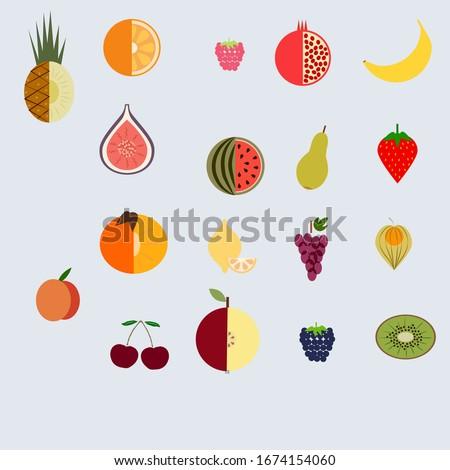 fruit set of 18 pieces: peach, raspberry, grape, kiwi, cherry, apple, blackberry, watermelon, physalis, pineapple, orange, pomegranate, banana, Figs, strawberry, pear, lemon, persimmon. Vector.