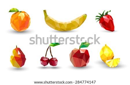 fruit set of polygons  apple