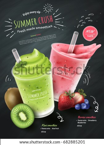 Fruit smoothies ads, kiwi and berries smoothie cup with fresh fruit isolated on chalk board background in 3d illustration
