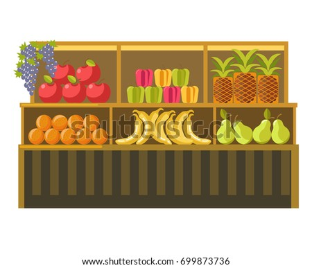 fruit stand counter vector
