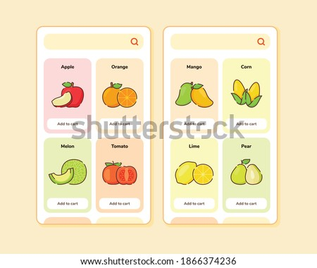 fruit store ui or ux design for mobile apps template screen design with some fruit list like apple orange melon tomato mango corn lime pear