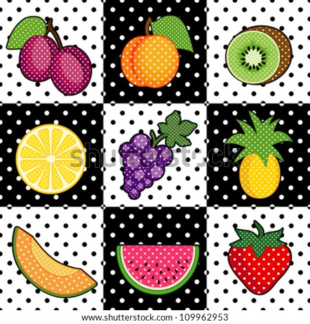 Fruit Tiles, polka dot design: plums, peach, kiwi; lemon, grapes, pineapple, cantaloupe, watermelon, strawberry. Decorative black and white pattern tile background. EPS8 compatible.