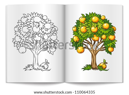 fruit tree drawn on the book bages vector illustration isolated on white background