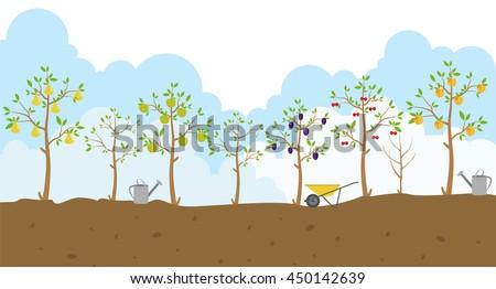 fruit trees garden icon set