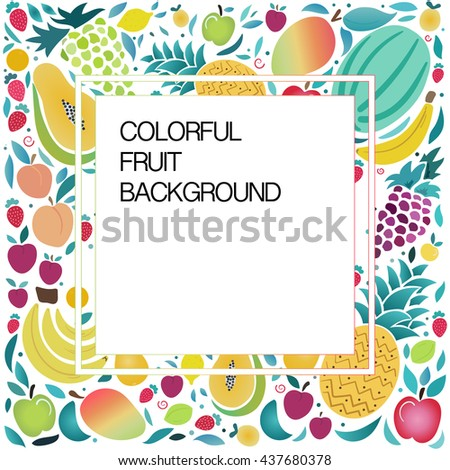 Fruit vector illustration with space for text.Vector colorful background with fruits and berries.