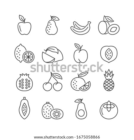 Fruit vector line icon set. Flat symbol of apple, pear, banana, pineapple, lemon, orange, cherry. Editable strokes. Vector illustration.