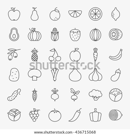 Fruit Vegetable Line Art Design Icons Big Set. Vector Set of Modern Thin Outline Fresh Healthy Food Symbols.