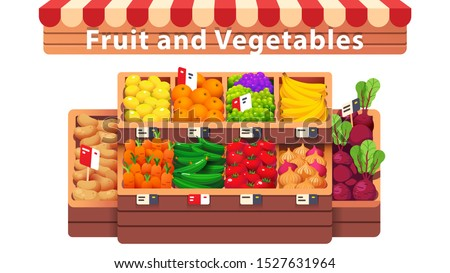 Fruit & vegetables supermarket shop aisle or stall. Fresh fruit & vegetables in wooden crates with price tags in grocery store produce section. Healthy organic food. Flat vector isolated illustration