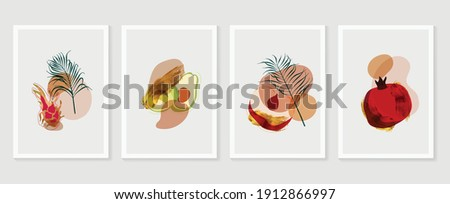 Fruit wall art gold background vector.  Hand drawn tropical fruit with golden and watercolor texture. Vector illustration for prints, wall decoration, wallpaper and cover design.