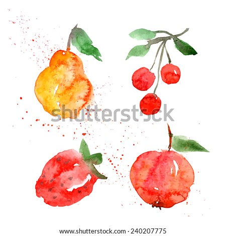 fruit watercolor blot