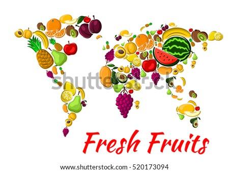 fruit world map with fresh