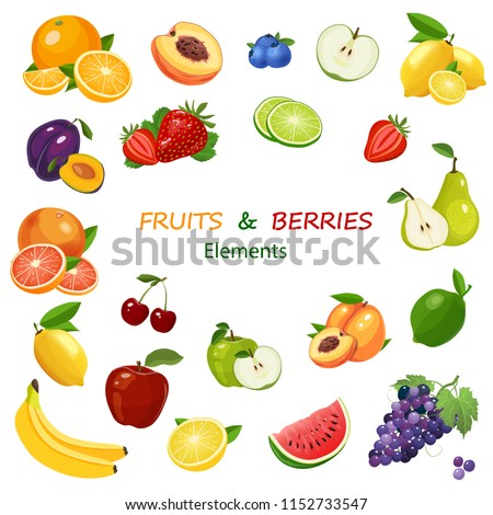 Fruits and berries colorful icons set. Mix of fruits on white background vector illustration
