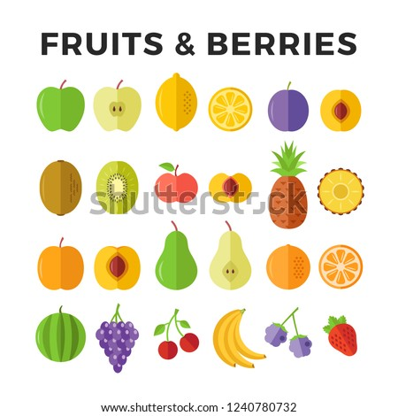 Fruits and berries flat icons. Apple, lemon, pineapple, pear, orange, banana, strawberry etc. Delicious fruits icons and berries. Vector icons set