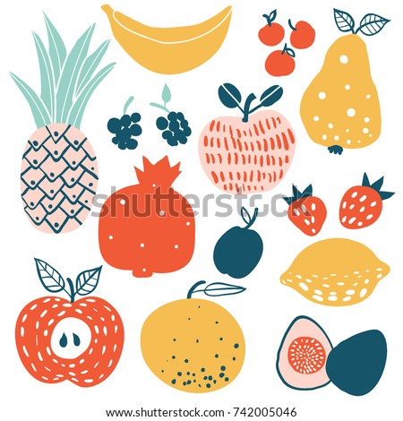 Fruits and berries flat icons set: lemon, orange, apple, pear, figs, pineapple. Colorful design for cards, banners, printed materials. Doodle style. Template for cafe, restaurant, bar.