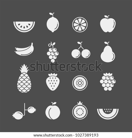 Fruits and berries flat vector icons set