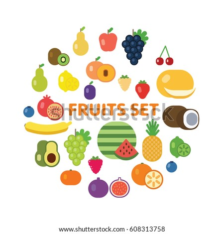 Fruits and berries icon set.