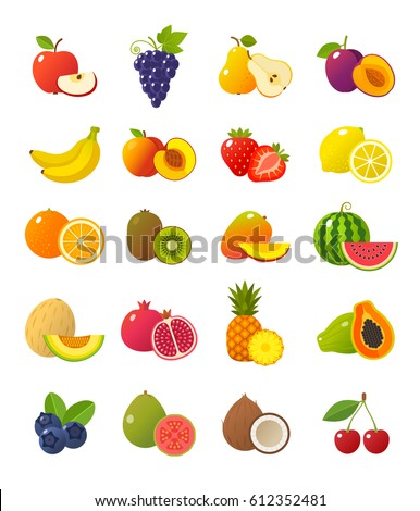 Fruits and berries icons collection. Vector illustration of cartoon fruits and berries, such as apple, pear, strawberry, orange, peach, plum, banana, pineapple, grapes, kiwi, mango. Isolated on white.