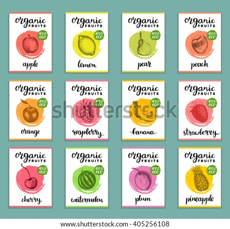 Fruits and berries labels. Hand drawn healthy, organic food and drink cards set. Farm eco products tags collection. Illustrations of Peach, Strawberry, Banana, Pear, Pineapple, Raspberry, Cherry etc.