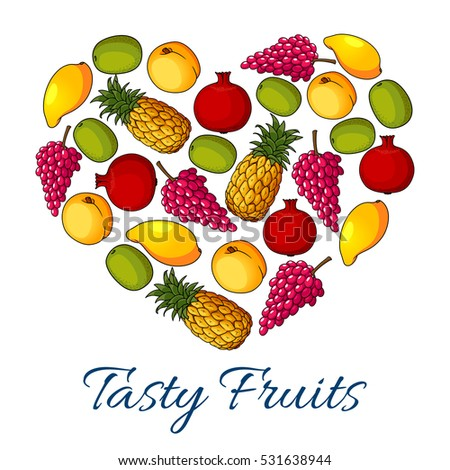 Fruits and berries poster in heart shape with grape, mango, apple, apricot, peach, pomegranate, tropical pineapple and kiwi #531638944