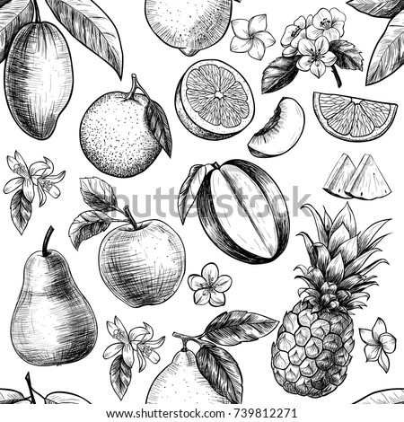 Fruits and flowers . Vector seamless pattern