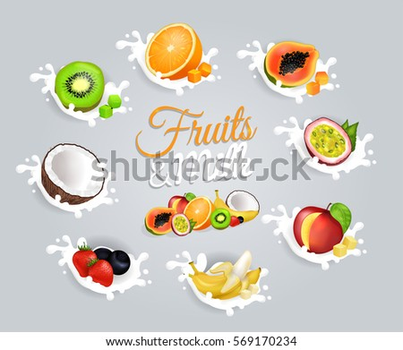 fruits and milk colourful