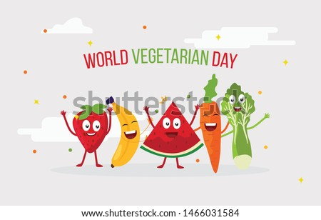 Fruits and Vegetable Cartoon Characters are playing and laughing together with joy and happiness to celebrate world vegetarian day