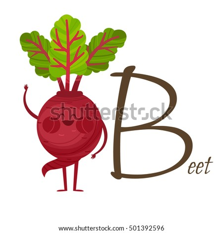 Fruits and vegetables alphabet. Vector illustration with funny characters. Great for kids education. Letter B for Beet