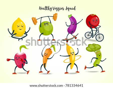 fruits and vegetables cartoon characters set. Healthy and fitness. Flat illustration eps 10 vector