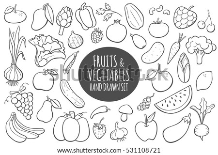 Fruits and vegetables doodle set. Hand drawn vector illustration.