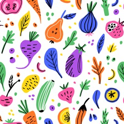 Fruits and vegetables flat hand drawn seamless pattern. Healthy nutrition cartoon texture. Organic food scandinavian illustrations. Diet sketch color cliparts. Kitchen textile, background vector fill