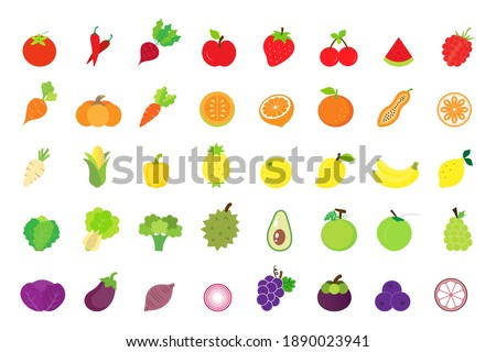 Fruits and vegetables flat icon set isolated on white background.Vector.Illustration.