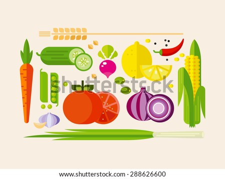fruits and vegetables flat