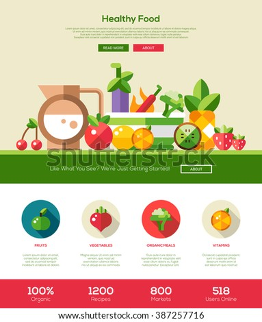 Fruits and vegetables, healthy nutrition one page website template layout with header, banner, icons and other flat design web elements
