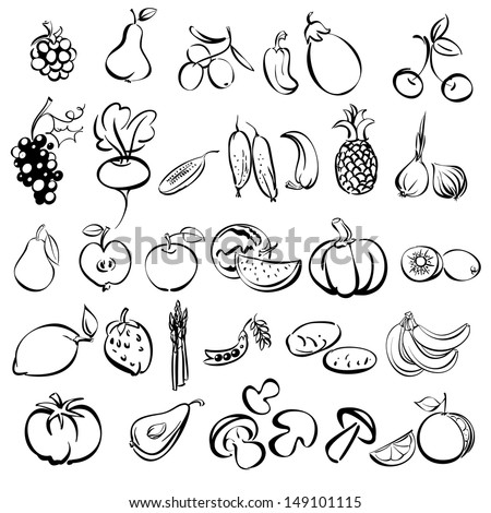 fruits and vegetables icon set sketch vector illustration