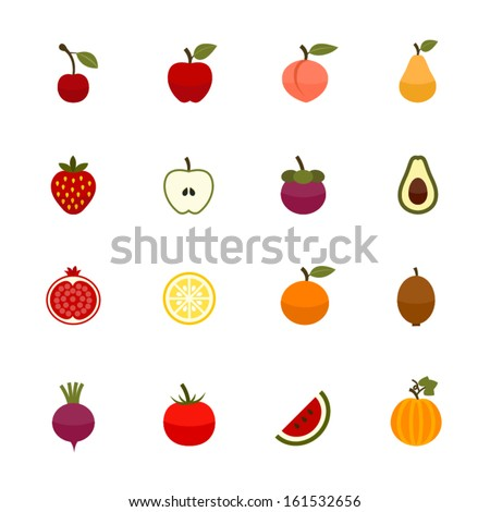 Fruits and Vegetables Icons with White Background