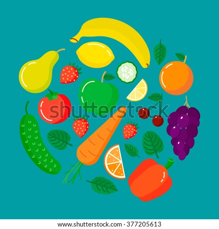 fruits and vegetables in round