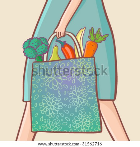 fruits and vegetables in the bag