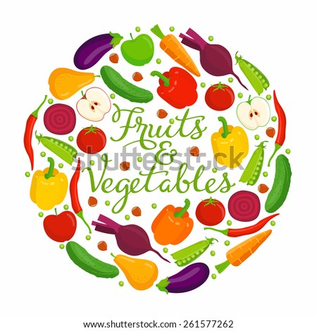 Fruits and vegetables lettering.\ Vector fruits and vegetables with a lettering on a white background.