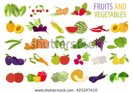 Fruits and vegetables. Nutrition. Icon set. Vector illustration