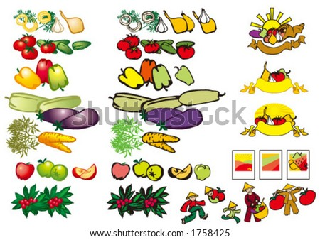 fruit and vegetables. stock vector : fruits and