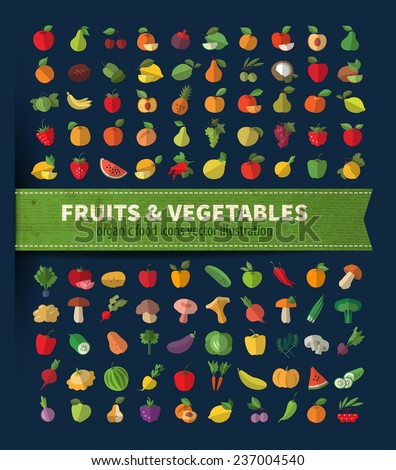 Fruits and vegetables. Organic food icons vector illustration