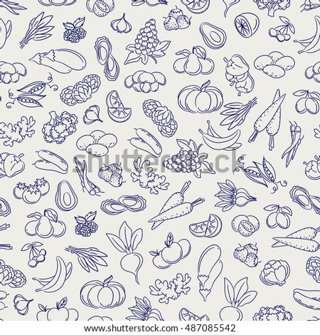Fruits and vegetables seamless pattern. Food sketch style vectorbackground #487085542