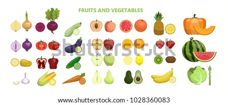 Fruits and vegetables set on white background. #1028360083
