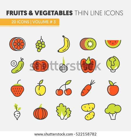 Fruits and Vegetables Thin Line Vector Icons Set with Banana, Tomato and Strawberry
