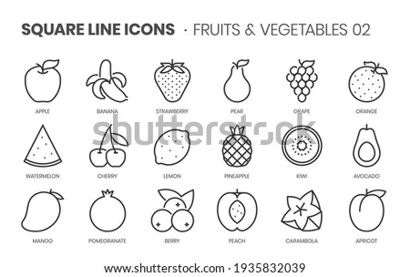 Fruits and vegetables two related, pixel perfect, editable stroke, up scalable square line vector icon set.